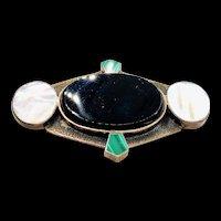 Art Deco Sterling Onyx MOP Malachite Brooch
