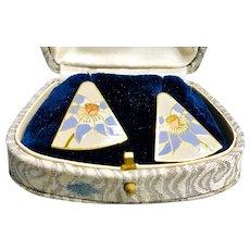 Vintage Laurel Burch Lavender and Beige Floral Earrings