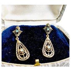 14k Yellow Gold Filigree Natural Opal Earrings Post Backs