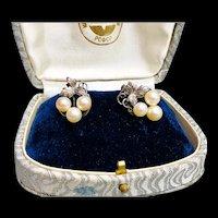 Fine Vintage Pearl Sterling Grapevine Pierced Earrings with Nut Backs