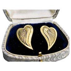 1980s Laurel Burch Gold Dove Pierced Earrings