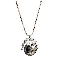 Victorian Sterling Watch Fob-Locket and Chain