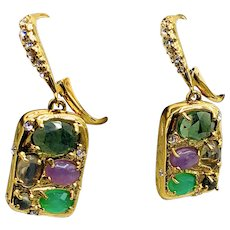 Signed Alexis Bittar Semi-precious Stones 14K Gold Plated Earrings