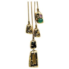 Signed Alexis Bittar Semi-precious Stones 14K Gold Plated Necklace