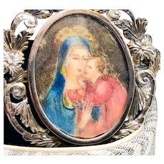 Hand-painted Madonna and Child 800 Silver Pendant-Brooch