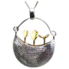 Sterling Basket with Gold-filled Flowers Necklace