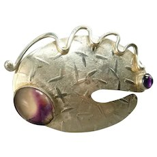 Modernist Sterling and Amethyst Brooch Signed Jill O'Reilly