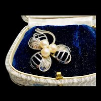Mid-century Sterling Cultured Pearl Clover Brooch