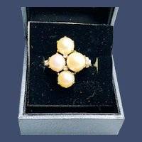 1940s Absolutely Gorgeous 14k White Gold Pearl Diamond Ring