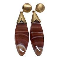 Red-brown Banded Agate Dangle Earrings