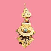 Antique Victorian 14K Turquoise Drop Earrings