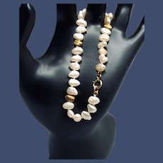 Vintage 14K Yellow Gold Nuggets and Baroque Pearls Bracelet