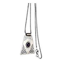 Sterling Silver Amethyst Gemstone Slide Pendant Necklace