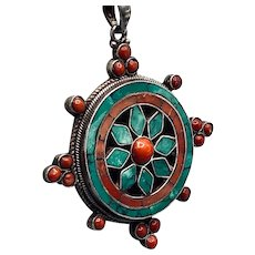 Antique Chinese Silver Turquoise Coral Pendant Necklace