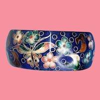 Vintage Cloisonne Bracelet Blue Background