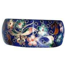 Vintage Cloisonne Bracelet Blue Background