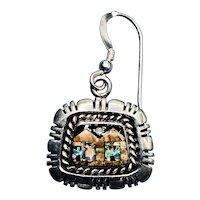 Sterling Silver Onyx, Opal, Jasper Inlay Night Village Scene Dangle Earrings