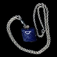 Vintage Silver Watch Chain with Sodalite Fob/Pendant Necklace