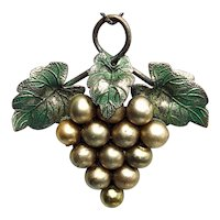 1930s Faux Pearl Grape Cluster Pendant Sterling Chain Necklace