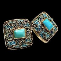 Chinese Enamel Turquoise Silver Gold Plated Filigree Pierced Earrings
