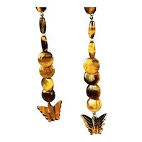 Natural Long Dangle Tigers Eye Carved Butterfly Earrings