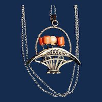 14K Gold Plated Vermeil Coral Flower Basket Pendant and Chain