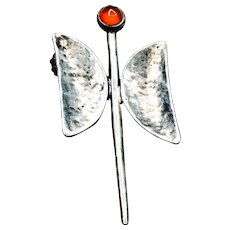 Handcrafted Modernist Sterling Silver Carnelian Butterfly Brooch