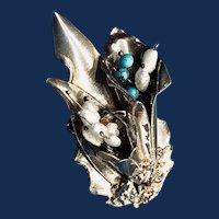 Art Nouveau 975 Sterling Turquoise Pearl Bouquet Brooch 1900s