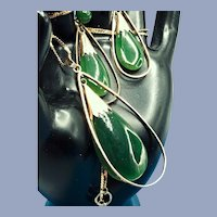 1940s 14K Natural Jade Demi-parure Necklace and Earrings