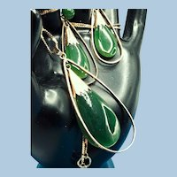 1940s 14K Natural Jade Jadeite Demi-parure Necklace and Earrings