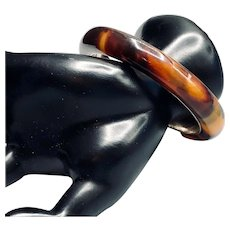 Faux Tortoise Shell Chunky Bangle Bracelet