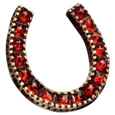 Large Antique Victorian Pinchbeck Garnet Horseshoe Brooch