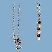 14K Yellow Gold Blue Sapphire and Pearl Pendant