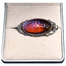 Arts and Crafts Sterling Dragon's Breath Opal Brooch