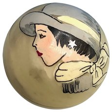 Hand Carved and Painted  Alabaster Spherical Box with Flapper Painting
