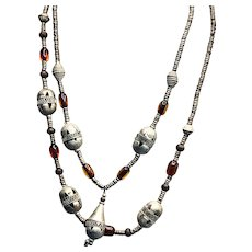 Afghanistan Buddhist or Turkmen Handmade Metal Beads Necklace