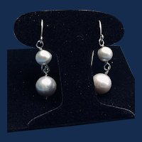 Cultured Grey Pearl Sterling Drop Pierced Earrings