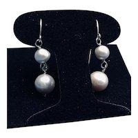Cultured Grey Pearl Sterling Drop Pierced Earrings