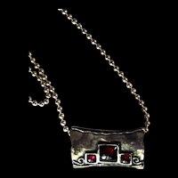 Artisan Sterling Silver Garnet Slider Pendant