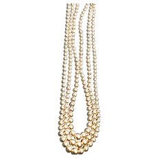 1940-1950 3-Strand Faux Pearl Necklace with Sterling Clasp
