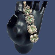 Gilded Green Enamel Four-leaf Clover Filigree Bracelet