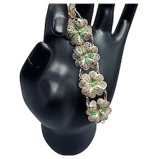 Gilded Green Enamel Four-leaf Clover Filigree Bracelet