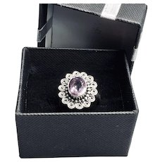 Vintage Sterling Silver Amethyst Ring Size 8 1/4 US