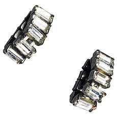 Statement Jewelry Vintage Baguette Clip On Crystal Earrings - Party and Wedding Jewelry