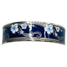 Signed Michaela Frey Bracelet Sterling and Enamel Black and Blue Bangle