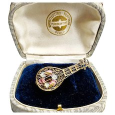 Vermeil Enamel Neapolitan Mandolin Vintage Brooch