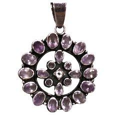 Sterling Silver Gem Amethyst Starburst Pendant Necklace