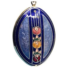 Cloisonné Enamel Double Sided Opening Locket and Chain Necklace