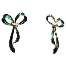 Festive Graceful Green Enamel Bow Pierced Earrings
