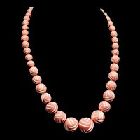 Art Deco Gorgeous Carved Celluloid Graduated Bead Necklace